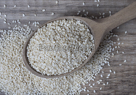 white sesame in wooden spoon on