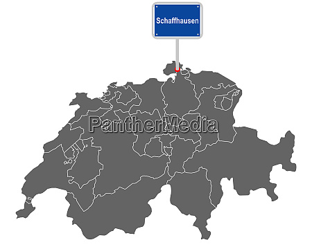 landkarte der schweiz mit ortsschild von