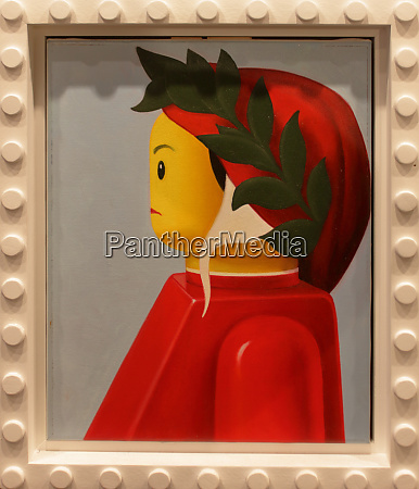 funny lego frame with famous paints