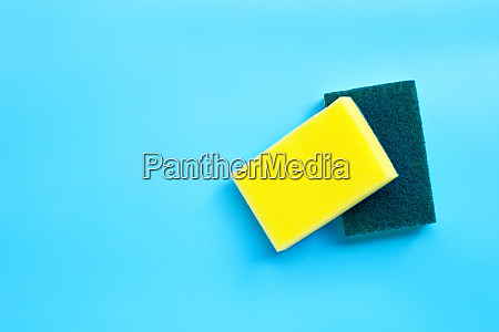 scrub sponges on white background copy