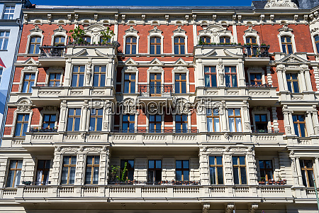 facade of a renovated old apartment
