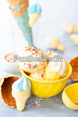 ice cream with rainbow sprinkles
