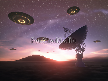 giant satellite dishe signal and ufo