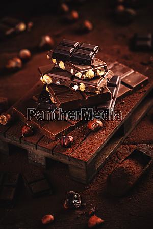 chocolate pieces with hazelnut