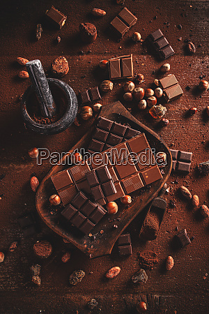 top view on tasty chocolate bars