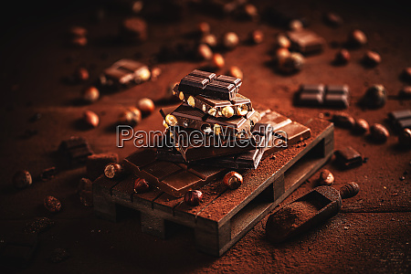 hazelnut black chocolate bar tower