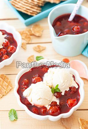 vanilla ice cream with cherries