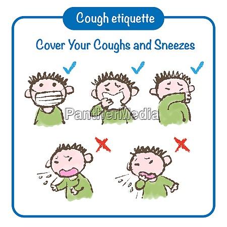 cough etiquette hand drawn illustration prevention