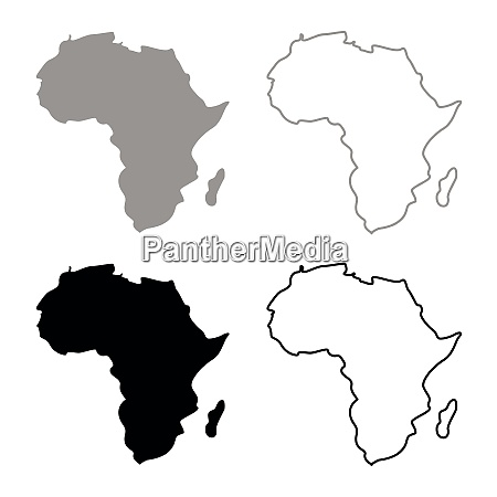 map of africa icon set grey