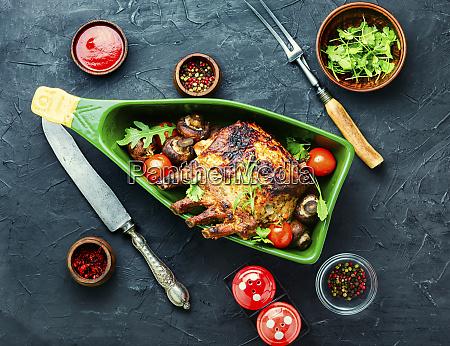 pork rack with vegetables