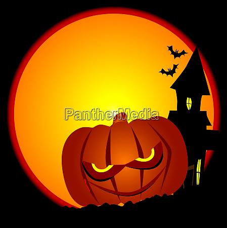 evil halloween pumpkin scene
