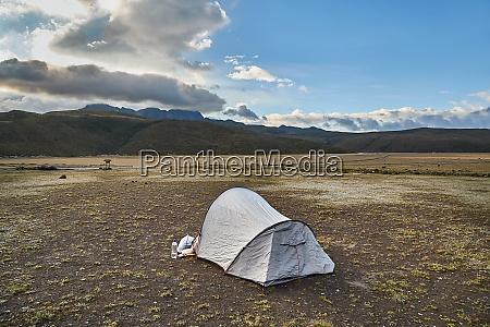 tent on a high mountain plateau