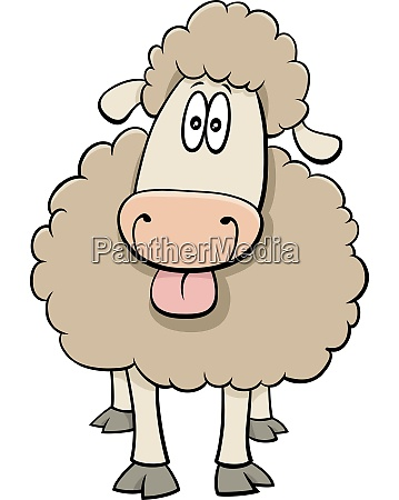 funny cartoon sheep farm animal character