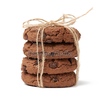 stack of baked round chocolate chip