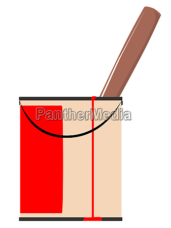 tin of red paint