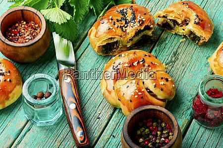 appetizing bun with nettles