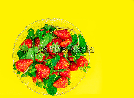 fresh red strawberries served in a