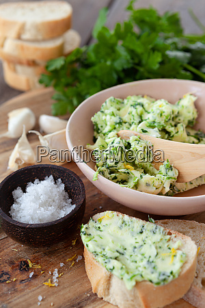 homemade butter with fresh parsley