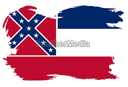 mississippi state flag with grunge border