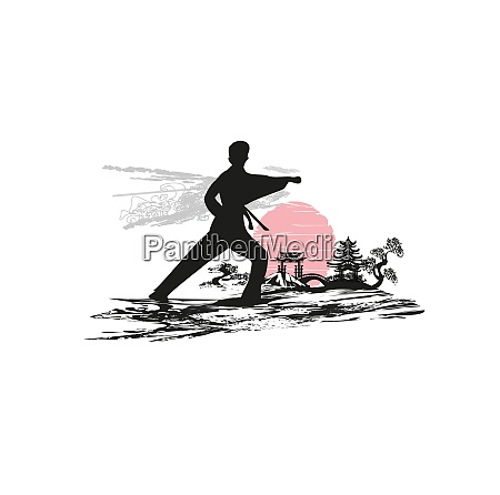 creative abstract illustration of karate fighter