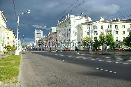 rain clouds covering gomel urban panorama