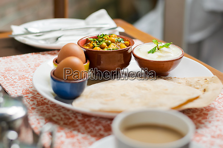 traditional indian nepali breakfast plate with