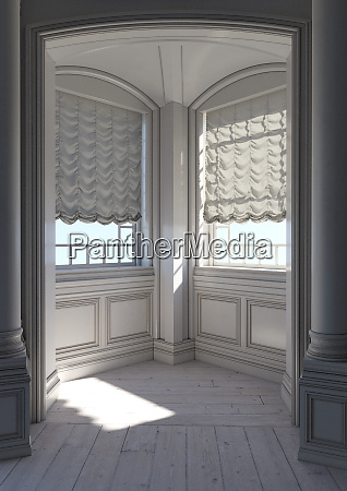 3d rendering rural chateau window