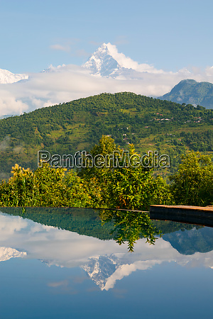 annapurna reflected in a pool