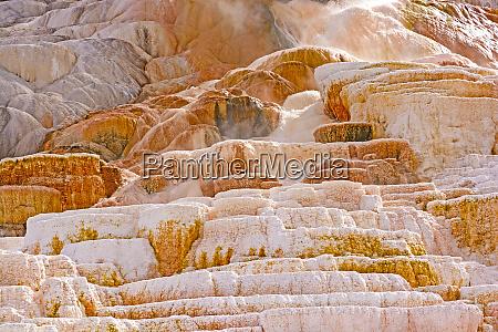 hot water rushing down limestone terraces