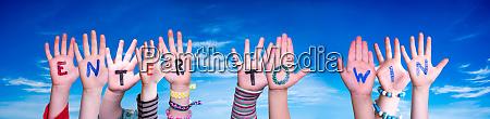 children hands building word enter to