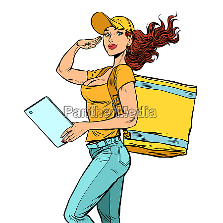 courier girl food delivery
