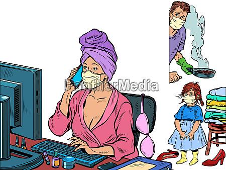 woman work at home freelance epidemic