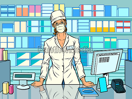 female pharmacist during an outbreak of