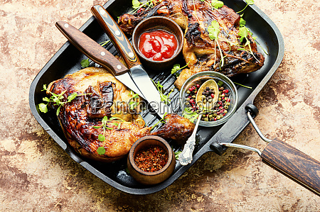 grilled chicken in a pan