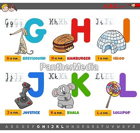 educational cartoon alphabet letters set for
