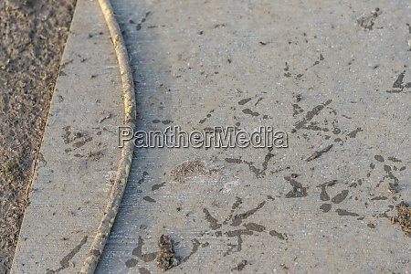 dirty mud footprints at gray poultry