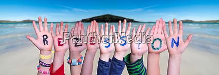 children hands building word rezession means