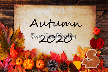 old paper with autumn 2020 colorful
