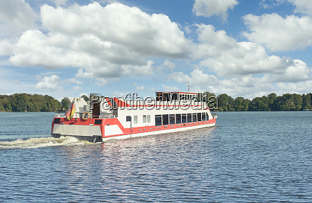 tourist boat at lake mueritz in