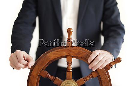 hand on ship rudder