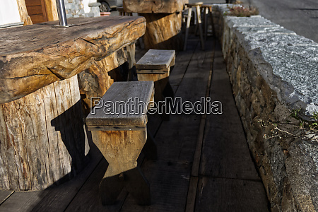 benches and tables made from a