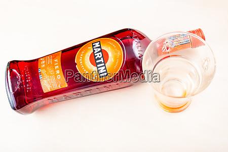 bottle of martini fiero and empty