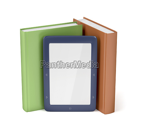 e reader and two books on