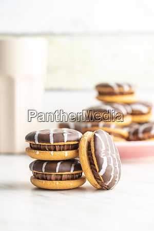 sweet dessert with chocolate cream and