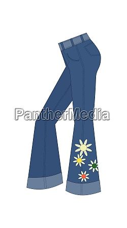 trousers flared 1970s fashion blue jeans