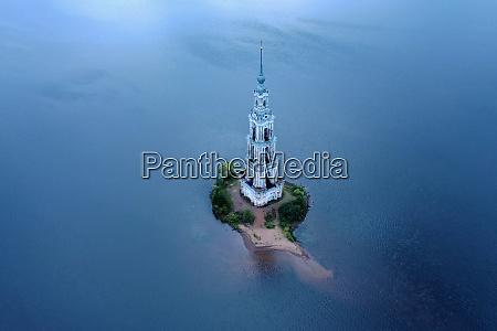 kalyazin bell tower on volga river