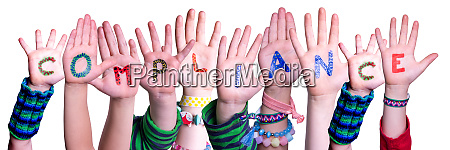 children hands building word compliance isolated