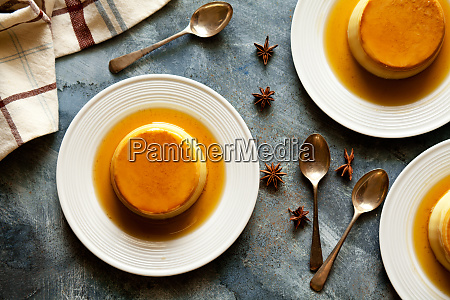 small homemade caramel puddings