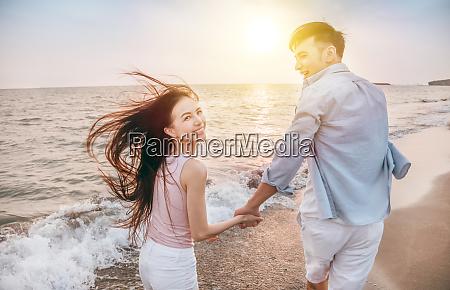 happy and romantic couple having fun