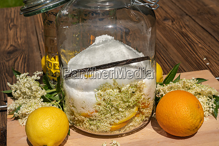 large preserving jar with the ingredients
